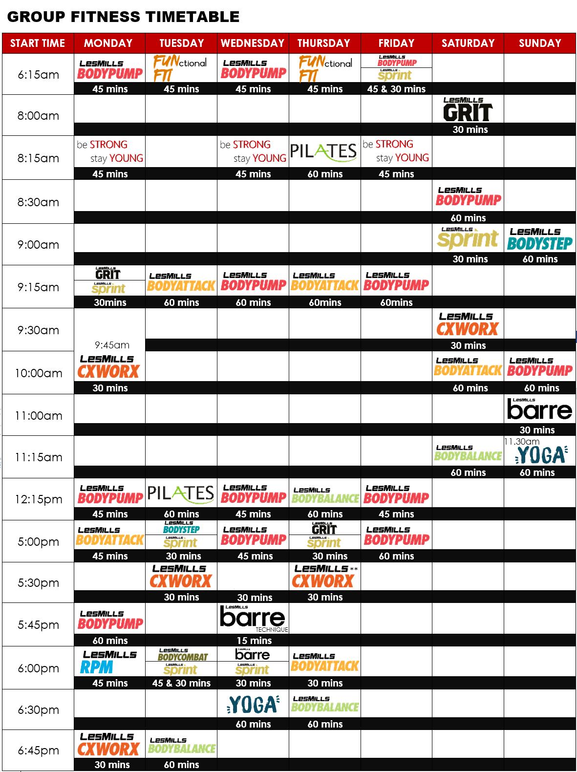 Nightcliff Gym Timetable